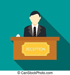 Male receptionist at hotel reception icon