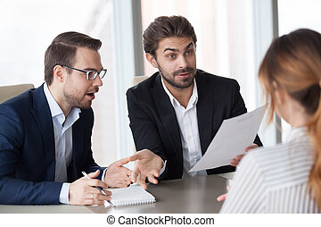 Male recruiters surprised with job candidate experience