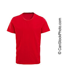 Male red t-shirt isolated on white