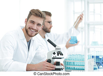 male researcher carrying out scientific research in a lab