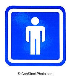 Male Restroom Sign -  Blue Male Restroom Sign