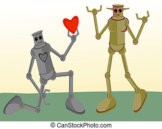 Male Robot giving his heart to Female Robot - Bending down...