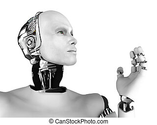 The profile of a male robot gazing into the future. Isolated on white background.