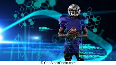 Male rugby player against data processing in background