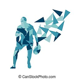 Male rugby player man abstract vector background made of...