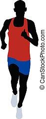 male runner athlete red shirt blue running short leggings