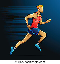 Male Runner - illustration of male runner running in speed