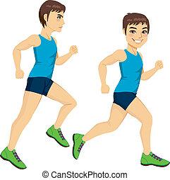 Male Runner Poses - Side view full body male runner on two ...