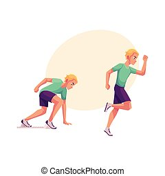 Male runner, sprinter, jogger, ready to start and running
