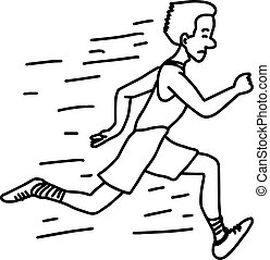 male runner - vector illustration sketch hand drawn with black lines, isolated on white background