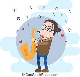 Male Saxophonist Simple Vector Character