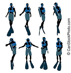 Male Scuba Diver Illustration Silhouette