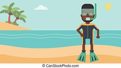 Male scuba diver on the beach vector illustration.