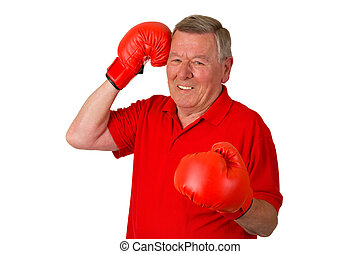 Male Senior with boxing gloves
