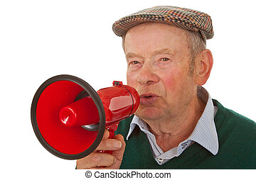 Male senior with megaphone