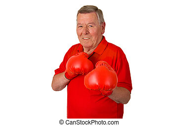 Male senior with red box gloves