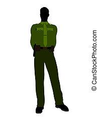 Male Sheriff Art Illustration Silhouette - Male sheriff...