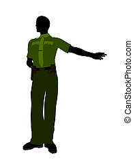 Male Sheriff Art Illustration Silhouette - Male sheriff...