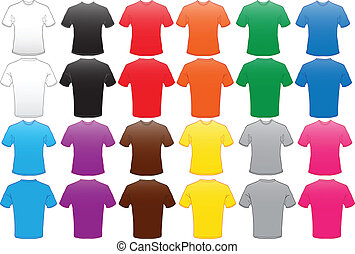 male shirts template in many color