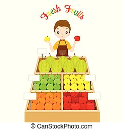 Male Shopkeeper With A Lot Of Fruits In Tray