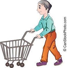 Male Shopper, illustration - Male Shopper Pushing a Shopping...