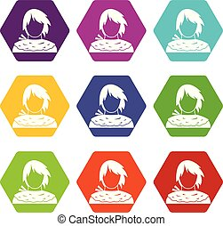Male shorn icon set color hexahedron - Male shorn icon set...