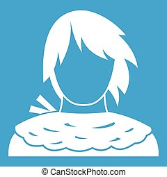 Male shorn icon white isolated on blue background vector...
