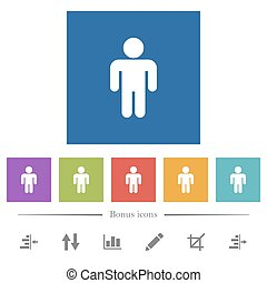 Male sign flat white icons in square backgrounds