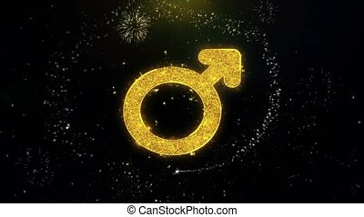 Male Sign Gender Icon on Gold Particles Fireworks Display. -...
