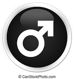 Male sign icon black glossy round button