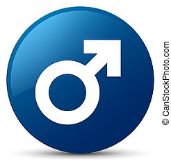 Male sign icon blue round button