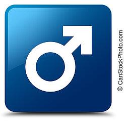 Male sign icon blue square button