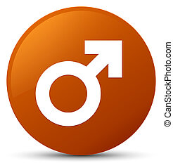 Male sign icon brown round button