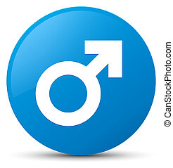 Male sign icon cyan blue round button