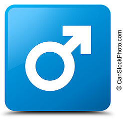 Male sign icon cyan blue square button