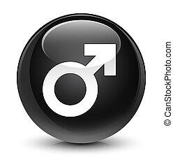 Male sign icon glassy black round button