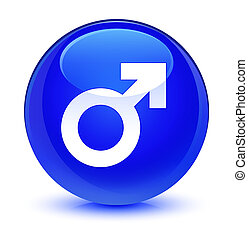Male sign icon glassy blue round button