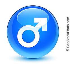 Male sign icon glassy cyan blue round button