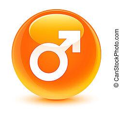 Male sign icon glassy orange round button