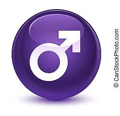 Male sign icon glassy purple round button