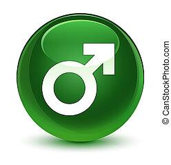 Male sign icon glassy soft green round button