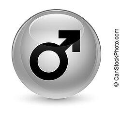 Male sign icon glassy white round button