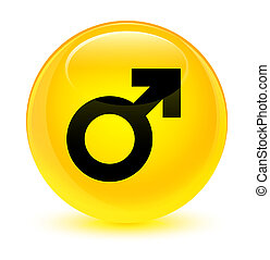 Male sign icon glassy yellow round button