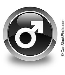 Male sign icon glossy black round button