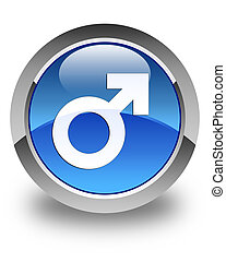 Male sign icon glossy blue round button