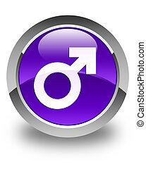 Male sign icon glossy purple round button