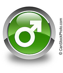 Male sign icon glossy soft green round button