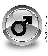 Male sign icon glossy white round button