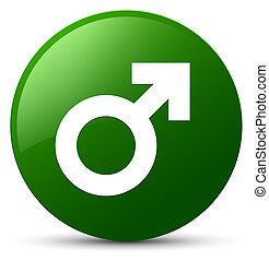 Male sign icon green round button