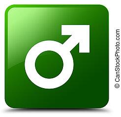 Male sign icon green square button